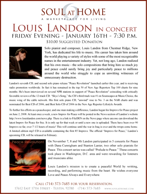 Louis Landon solo piano concert at Soul at Home