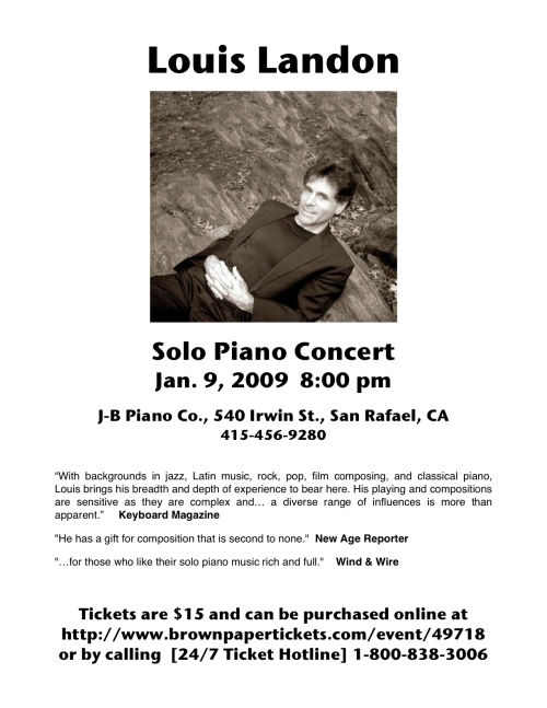 Louis Landon - Solo pianist for peace in San Rafael