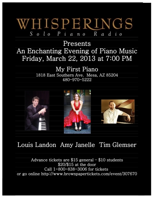 Whisperings solo piano concert at My First Piano